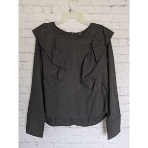 DREW | Size L Black Ruffle Long Sleeve Top